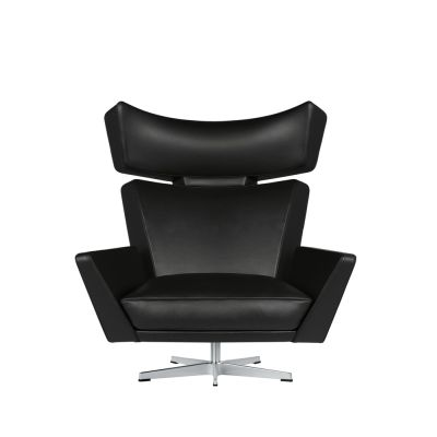 Oksen Armchair Extreme Leather Black, Satin polished aluminium