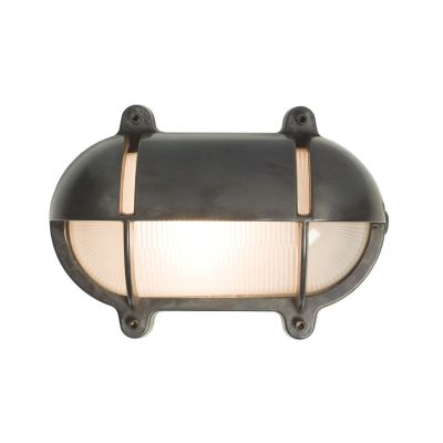Oval Brass Bulkhead With Eyelid Shield Weathered Brass, Medium