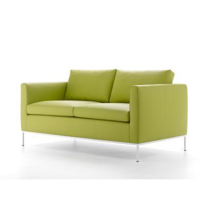 Pad Sofa, 2 Seater Pelle_albicocca_R801, Graphite Grey