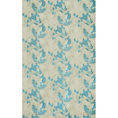 Paisley Wallpaper  Turquoise on Old Grey