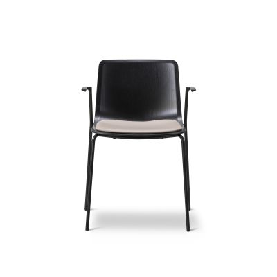 Pato 4 Leg Armchair with Seat Upholstery Black Painted Steel, Oak black lacquered, Nubuck 501 Light sand