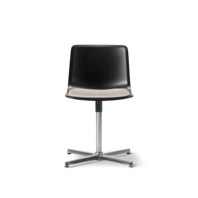 Pato Swivel Chair with Seat Upholstery Chrome Steel, Oak black lacquered, Remix 2 143