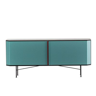 Perf Credenza Copper Doors, Steel Top