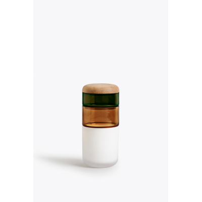 Pi-No-Pi-No Vase Opal White, Bronze, Green