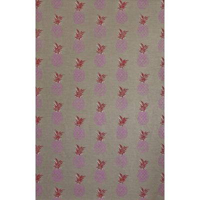 Pineapple Fabric  Pink/Red on Natural