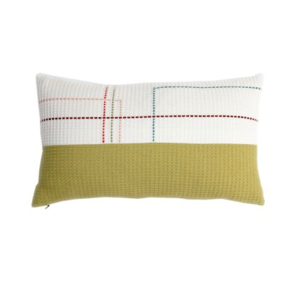 HERBERT organic cotton hand embroidered olive white rectangle cushion