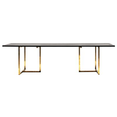 Pivot T3456 Dining table Oak Black, Brass Natural Finish
