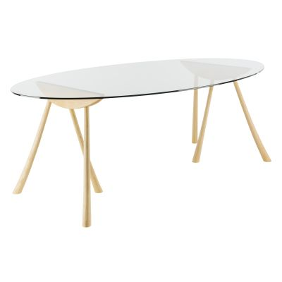 Pollyfox Trestle Oval Dining Table Ash