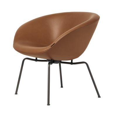 POT™ Lounge Chair Black Elegance Leather, Dark Brown Powder Coated