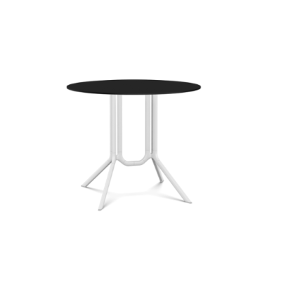 Poule Double Table, Round Fixed Top White Lacquer, Black Laminate, 90