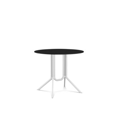 Poule Double Table, Round Tip-up Top White Lacquer, Black Laminate, 90