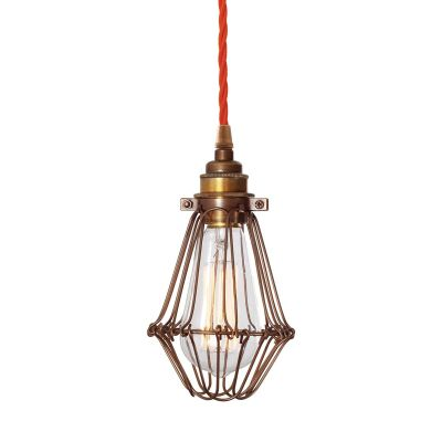 Praia Bronze Industrial Cage Pendant  Orange Twisted Braided Fabric Cable