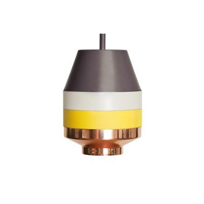 Pran Pendant Light 296 Dark Grey, White, Yellow & Copper