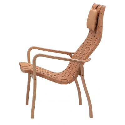 Primo Easy Chair High Back Oak Natural Lacquer, Webbing Natural