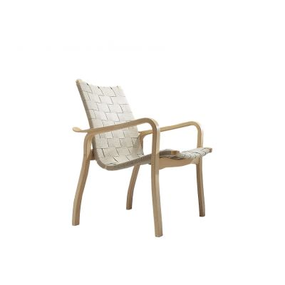 Primo Easy Chair Low Back Oak Natural Lacquer, Webbing Natural