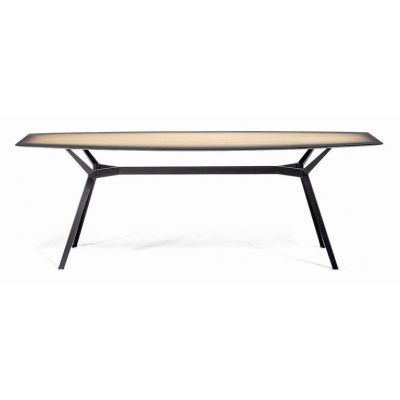 Pylon Gradient Dining Table - New Natural Oak + Grey, Grey Ral 7035