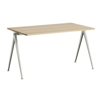 Pyramid table 01 Beige Frame, Clear Lacquered Oak Tabletop, 140cm