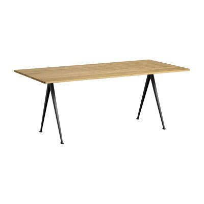 Pyramid table 02 Black Frame,  Oiled Oak Tabletop, 190cm
