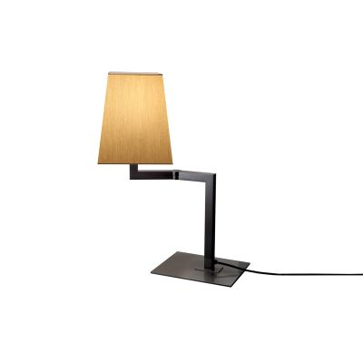 Quadra Desk Table Lamp Satin bronze, White linen