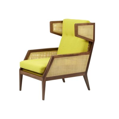 Raffa High Armchair Walnut, Olive Green