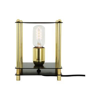 Ranua Table Lamp Powder Coated White & Polished Brass, UL Plug