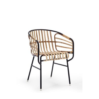 Raphia Armchair Natural Rattan/Bordeaux