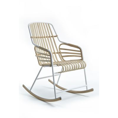 Raphia Armchair, With Rocking Base Painted Fume Wicker/Hunter Green