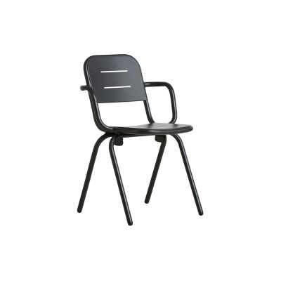 Ray Café Dining Chair with Armrests - Set of 2 Charcoal Black