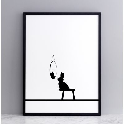 Reflective Rabbit Screen Print Small