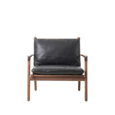 Ren Lounge Chair Large A range fabric, Natural Walnut