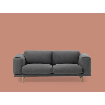 Rest 2 Seater Sofa Wooly Plus 2256 Ivory melange, Black