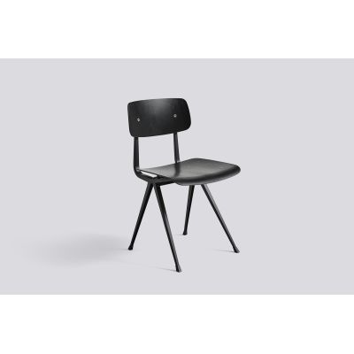 Result Chair Black Oak Veneer Shell, Black Frame