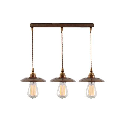 Reznor Triple Pendant Light Satin Brass