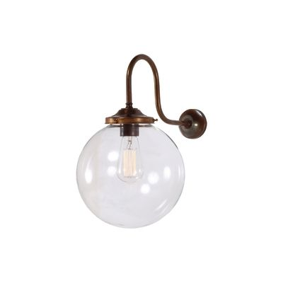 Riad Clear Globe Wall Light Satin Brass