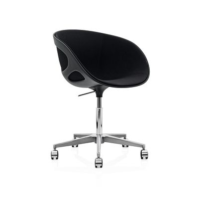 Rin Chair with Castors - fixed front upholstery Tonus Meadow 115, Soft wheels for hard floor with brakes, Plastic Black