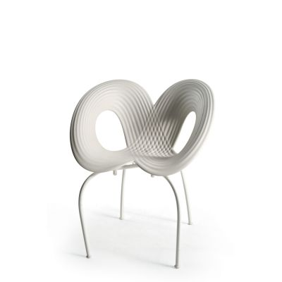 Ripple Set of 2 Dining Chairs White Shell, Black Matt Base