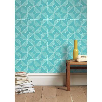 Rosette (Turquoise) Wallpaper Order A Roll
