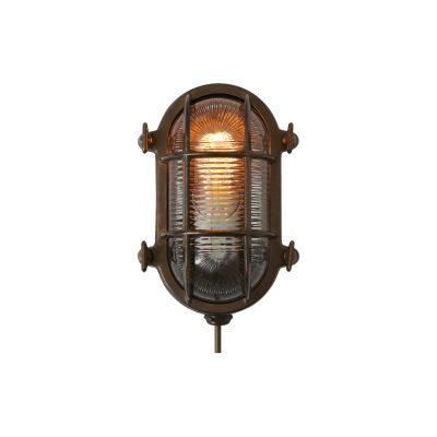 Ruben Small Oval Marine Wall Light Antique Brass