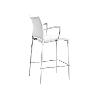 Sand-Air Upholstered Barstool with Arms Reti S28 Duo - Grigio Ghisa, Desalto Lacquers Grey Umbro B84, 115cm, No