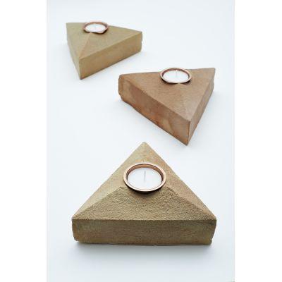 Sand Cast Brick Tea Light Holder - Set of 3 With 1 Pack of 12 Flax Seed Tea Lights