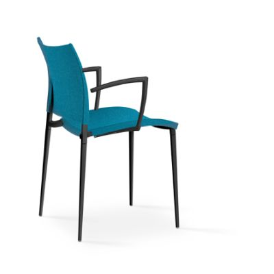 Sand Upholstered Armchair - Stackable Tessuto Divina T83 Beige, A18 Matt Ossidiana