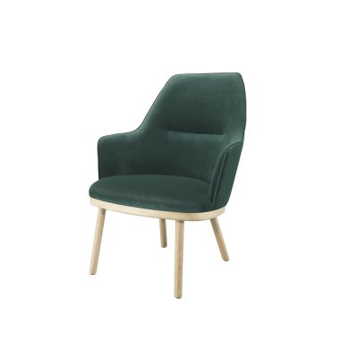 Sartor Lounge Chair Wood Legs Lana 007 Canary, Walnut