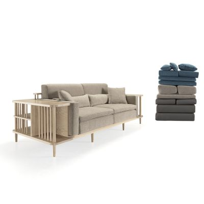 Scaffold Sofa Walnut Natural, Lana 007 Canary