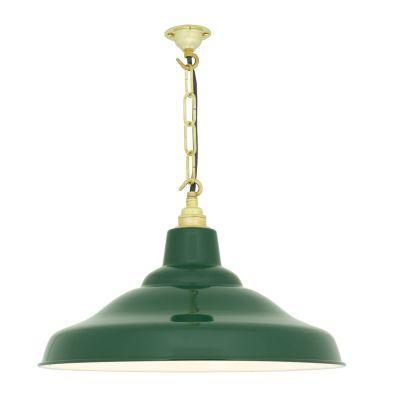 School Pendant Light 7200 Green with white interior