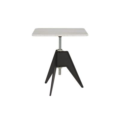 Screw Square Cafe Table White Marble