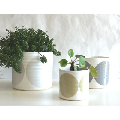 Set of 3 Pots Silver, Grey, Sand