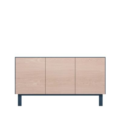 Sideboard 3 Doors Oak, Petrol Blue
