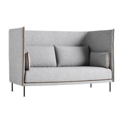 Silhouette High Backed 2 Seater Sofa Coda 2 100, Black Powder Coated Steel, Cognac Leather