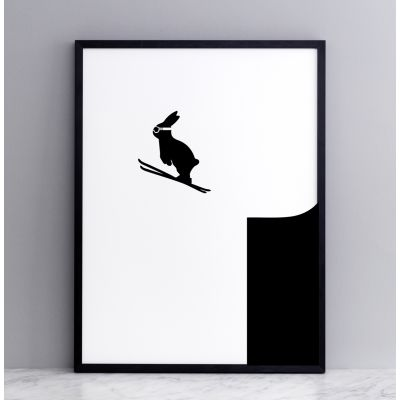 Ski Jumping Rabbit Screen Print Large