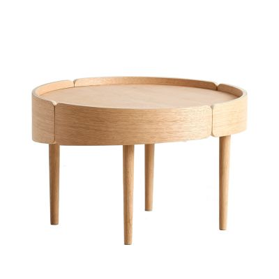 Skirt coffee table Medium, Matt white pigmented lacquered oak